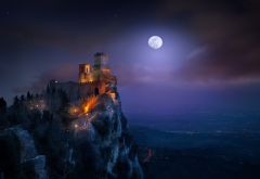 San Marino, landscape, nature, fortress, castle, moon, starry night wallpaper