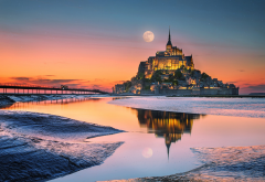 France, Mont Saint Michel, moon, bridge, island, night wallpaper