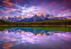 Canada, sunrise, lake, mountains, forest, nature, landscape, reflections wallpaper
