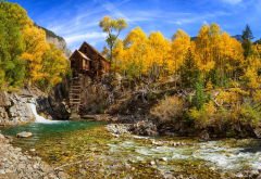Colorado, autumn, nature, mill, river, forest, tree wallpaper