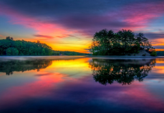 sunrise, colorful, lake, island, nature, landscape, reflections, Massachusetts wallpaper