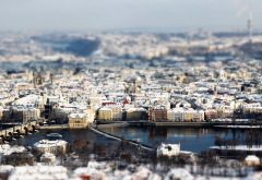 prague, tilt shift, winter, snow, city, river, czech republic wallpaper