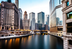 Chicago River, Chicago, usa, city, building, river wallpaper