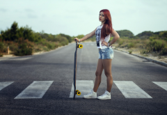 skateboards, women, redhead, roads, jean shorts, longboards wallpaper