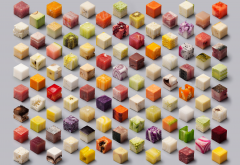 food, cubes, fruit, meat, artwork, cheese, art wallpaper