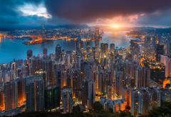 Hong Kong, city, Victoria Harbour, morning, sunrise, skyscrapers wallpaper
