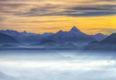 nature, mist, sunrise, mountains wallpaper