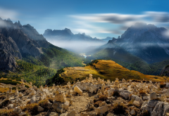 valley, mist, mountains, landscape, nature, forest, Italy, summer wallpaper