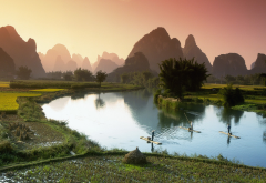 li river, guilin, china, nature, mountains, water, sky, river, boat, field wallpaper