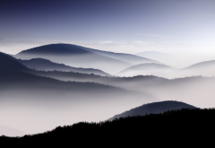 sunrise, mist, hill, mountains, calm, fog, nature wallpaper