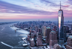 one world trade center, city, winter, river, new york, usa, skyscrapers wallpaper