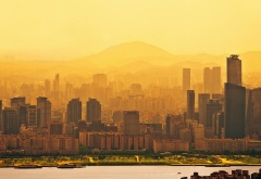 seoul, south korea, sunrise, city, skyscrapers, river wallpaper