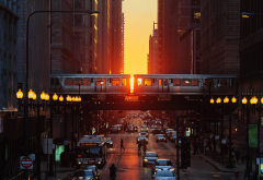 chicago, illinois, city, sunset, street, metro, car wallpaper