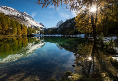 nature, landscapes, lakes, Alps, mountains, forests, reflection, snowy peaks, fall, water, sunrise wallpaper