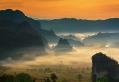 Phu Lang Ka, Phu LangKa, Thailand, mist, sunrise, mountains, valleys, nature, landscapes, fields, tr wallpaper