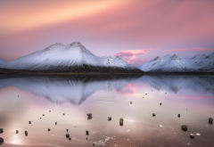nature, landscapes, calm, lakes, mountains, clouds, snowy peaks, pink, white, cold, water, winter wallpaper