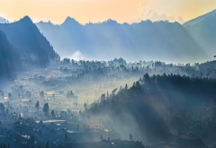 fog, mist, sunrise, nature, village, mountains, sun rays, indonesia, forest, valley, bali wallpaper