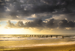 nature, landscapes, clouds, old, docks, beach, sea, waves, sand, sunset wallpaper