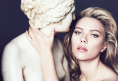 scarlett johansson, celebrity, sculpture, women, face wallpaper