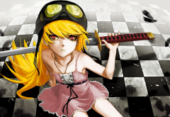 oshino shinobu, anime, anime girls, monogatari series, sword, katana wallpaper