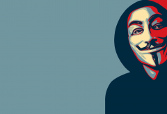Anonymous, face, mask, minimalism wallpaper