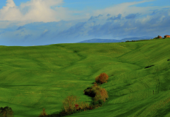 Italy, Tuscany, nature, landscape, clouds, hill, grass, field, trees, house, green wallpaper