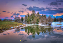 lake, walchsee, tirol, austria, nature, sunset, reflections, frost wallpaper