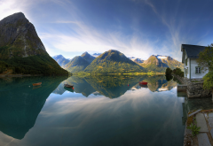norway, fjord, reflections, mountains, river, boat, nature wallpaper