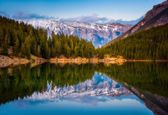 alberta, canada, mountains, lake, forest, reflections wallpaper