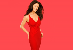 catherine zeta jones, actress, simple background, dress, brunette, smiling wallpaper