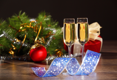 christmas, wine glasses, champagne wallpaper