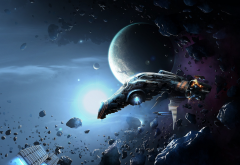 artwork, science fiction, spaceship, space, planet, spacecraft wallpaper