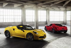 Alfa Romeo 4C Spider, car, Alfa Romeo, garage wallpaper