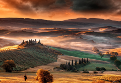 tuscany, italy, fog, sunrise, valley, field, hill, nature, landscape wallpaper