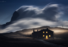 italy, cuneo, valle maira, rocca la meja, supermoon, rifugio, gardetta, house, wind, mountains, clouds, sky, lights, nature, landscape, long exposure, night wallpaper