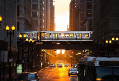 city, train, subway, chicago, usa, sun lights wallpaper