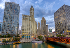 cityfront center, chicago, illinois, usa, river, bridge, citu, skyscrapers wallpaper
