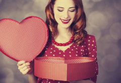 women, redhead, polka dots, heart, love, gift wallpaper