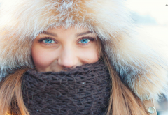 fluffy hat, women, blue eyes, scarf, winter wallpaper