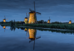 south holland, kinderdijk, mill, river, channel, landscape wallpaper
