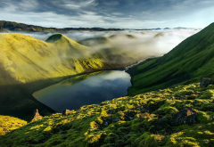 mountains, iceland, hills, clouds, fog, mist, lake, grass, nature, landscape wallpaper