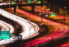 long exposure, traffic, freeway, night, city, canada, vancouver wallpaper