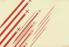 digital art, minimalism, lines, stripes, red, airplane, aircraft, simple background wallpaper