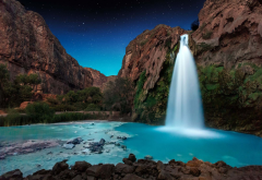 waterfall, starry night, rocks, turquoise, canyon, long exposure, nature wallpaper