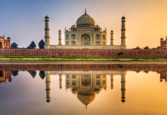 taj mahal, agra, india, architecture, reflection, sunset, city wallpaper