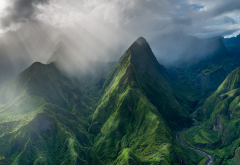 reunion island, mountains, clouds, photography, island, valley, sun rays, nature, landscape wallpaper