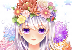 art, yuri, girl, face, eyes, flowers, roses, anime wallpaper