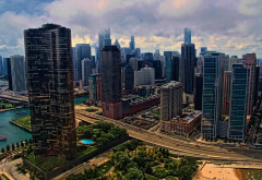 chicago, usa, skyscrapers, city, clouds wallpaper