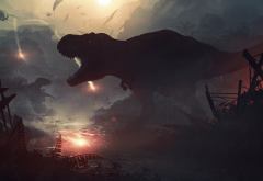 jurassic world, tyrannosaurus rex, dinosaurs, movies, helicopter, art wallpaper