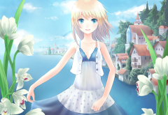 art, minato, shouno, girl, flowers, lake, anime wallpaper